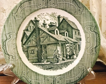 Royal China The Old Curiosity Shop Dinner Plates - Green and White - Set Of (3)