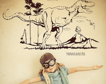 Wall decal dinosaur tyrannosaurus rex t-rex with landscape M1594