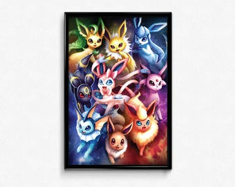 Pokemon Eeveelutions Wall Art Pokemon Go Poster Print Gift Home Decor Eevee Flareon Jolteon Vaporeon Umbreon Espeon Leafeon Glaceon Sylveon