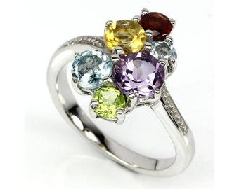 SOLID 925 Sterling Silver Ring 6 Six Round Amethyst Citrine Topaz Garnet Peridot Natural Genuine Gem Stone Gemstones 14K White Gold Plated