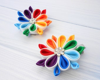 Rainbow flower hair clip Colorful kanzashi hairpin Two alligator clip Origami fabric flower Set of 2 Kanzashi hair clip Tsumami kanzashi