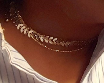 3- in- 1  silver and gold chain choker