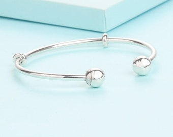 Open Bangle Bracelet, 100% Sterling Silver Fits to all Pandora Charm Jewelry