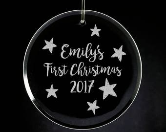 Baby's First Christmas Glass Ornament, Personalized Glass Ornament, 1st Xmas Engraved, Etched Glass Ornament, New Baby Shower, Baby's 1st