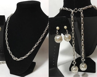 50% OFF | Vintage | Faux Pearl & Silver Tone | Necklace Set