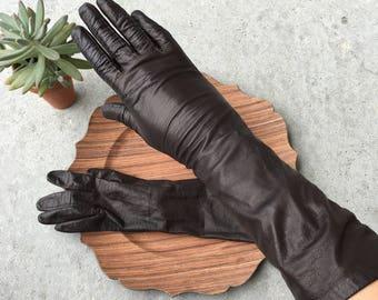 Vintage Dark Brown Leather Gloves