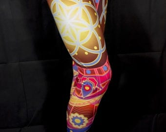 Psychedelic Clothing SEED OF LIFE Yoga Leggings Festival Clothing Pixie Leggings Hippie Clothing Sacred Geometry Yoga Pants Psytrance Edm
