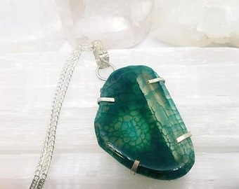 Agate Necklace Agate Crystal Agate Pendant Silver Plated Pendant Agate Crystal Necklace Green Agate