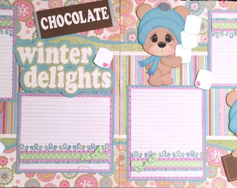 Pre made scrapbook pages ~ Winter Delights ~ 12x12 paper piecings ~SBD