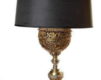 1895 Banquet Antique Oil Lamp, Brass Ornate Lamp, Black and Brass/ Gold, Electrified, Victorian Table Lamp, Made in USA,