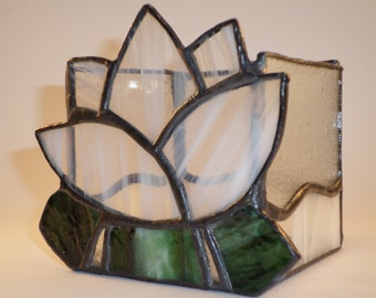 "CANDLE ""waterlily"" - stained glass - white, green, clear glass, mirror bottom"