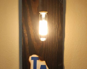 Custom MLB Wooden Sign Light for Man Cave!!-Royals, Angels, Twins, Yankees, Athletics, Mariners, Dodgers, Marlins, Brewers, Mets, Phillies