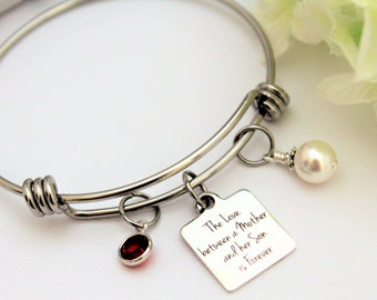 Mother of Groom Gift from Groom Gift for Mom Adjustable Personalized Birthstone Bracelet Gift to Mom Mother of the Groom Gift from Son
