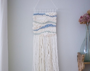 Zen wall hanging \\ Weave \\ RTS \\ woven wall hanging \\ tapestry \\ handwoven wall art \\ blue nursery decor \\ blue home decor