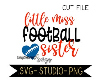 Little Miss Football Sister Svg, Studio, Png, Cut File, Softball, Softball Svg