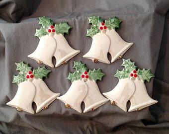 Pack of 5- porcelain bells ornaments