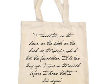 Pride and Prejudice Tote Bag, Jane Austen Quote Tote, 'I cannot fix on the hour', Mr Darcy, Literary Tote, Bookish Bag, Book Lover Gift Bag
