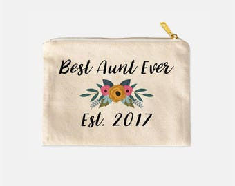 Best Aunt Ever Cosmetic Bag, Aunt Cosmetic Bag, Gifts for Aunts, Aunt Cosmetic Pouch, Aunt Announcement, Cute Makeup Bags, 9.5 x 7