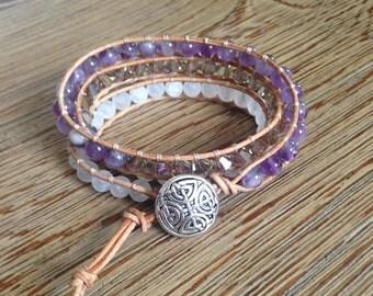 Leather wrap bracelet, beaded bracelet, triple wrap bracelet, white bracelet, purple bracelet, wrap bracelet