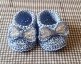 Handmade Baby Gift    Crochet Baby Booties   Baby Blue Bow Booties   Handmade   Baby Shower Gift   New Baby   Baby Girl   Christening Gift