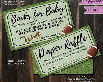 Diaper Raffle + Books for Baby Invitation Inserts Football Party Invite Insert - Football theme decoration- Printable Kit INSTANT DOWNLOAD