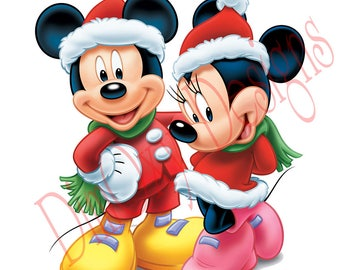 Disney Mickey and Minnie in Santa's costume. Christmas and Holiday window Static Cling decor. OSD-SCFC-MAMC2