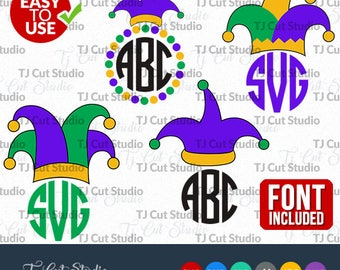 Jester Hat SVG, Mardi Gras hat SVG, Mardi Gras Monogram svg, Jester svg, Files for Silhouette Cameo or Cricut Commercial & Personal Use.