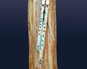 Native American Style Collector's Edition One of a Kind Double Flute - With Intricate Turquoise and Chrysocolla inlay - TREASURE!