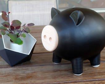 Black matte piggy bank, ceramic piggy bank, large piggy bank, Home decor, housewarming gift, Wedding gift, Kids gift, baby shower gift, PIGZ