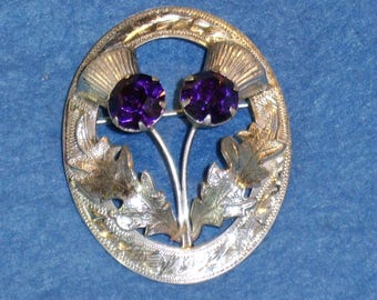 A Gorgeous Silver and Amethyst Scottish Thistles Brooch, fully hallmarked.