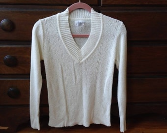 60s/70s Textured Knit Sweater - Cream - Small