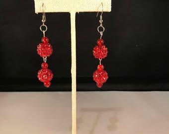 Ruby Red Ball Earrings