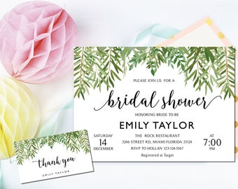 Bridal Shower Invitation, Greenery Wedding Printable , Greenery Bridal, Editable Bridal Shower Invitation, Greenery, Instant Download, ABR08