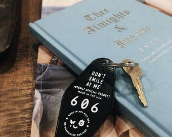 Don't Smile at Me Motel Keychain | Key Fob | Vintage Style | Fashion Keychain