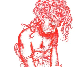 Curly Red A5 Print