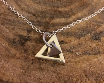 Triangle and mini triangle necklace