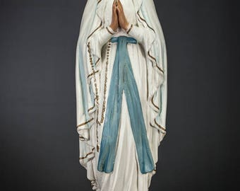 "22"" Large Charming Our Lady of Lourdes Vintage Plaster Statue Blessed Virgin Mary Figure Madonna Figurine"