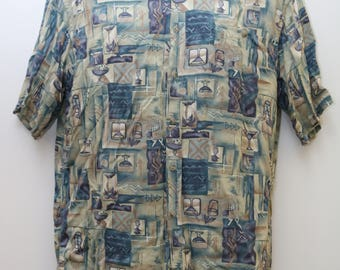 "90's Vintage ""PIERRE CARDIN"" Short-Sleeve Abstract Patterned Shirt Sz: MEDIUM (Men's Exclusive)"