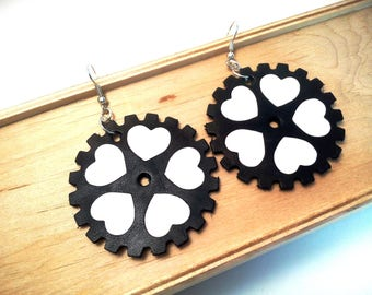Lightweight leather earrings Leather jewelry Heart steampunk earrings Black and white earrings Statement Jewelry Valentine's gift