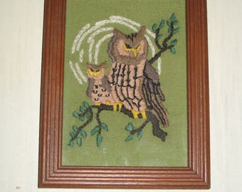 Vintage Framed Crewel Art  Owl Theme
