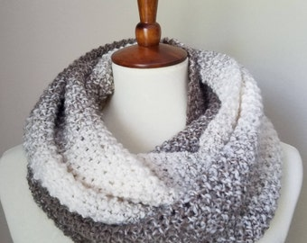 Infinity scarf, knit scarf, hand made scarf, light color scarf, warm scarf, wide scarf, wool scarf, beige scarf, multicolored scarf