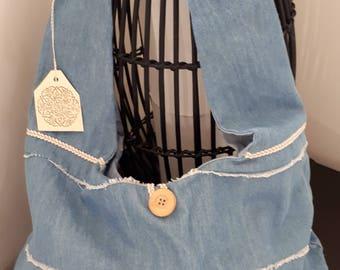 Light denim bag, hobo bag, shabby bag, shoulder bag, slouchy bag, blue bag