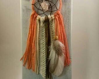 Boho Dream Catcher with Pink, Brown and Lace. Hand Wrapped Rose Quartz in Center. One of a Kind Gift for her with Country Charm, Native Made