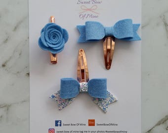 SET of 3 Small Hair Clips Blue | Wool Felt | Rose Gold Clips | Hair Clip Baby, Girls Bows, Glitter Bows