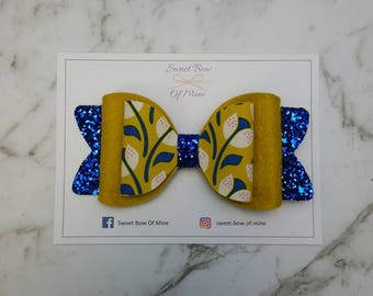 Large Hair Clip | Gold & Royal Blue | Glitter Bow | Wool Felt | Hair Bow | Mustard | Floral
