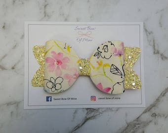 Large Bow Hair Clip | Floral Pink & Yellow Glitter Bow | Hair Bow, Hair Clip, Glitter Bow, Oversized