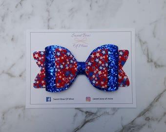 Large Headband or Clip | Red Blue White Stars Glitter | Baby Headband, Hair Bow, Girls Clip, Glitter Bow