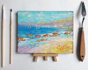 ORIGINAL mini Oil painting seascape Impressionism art painted ocean home wall interior living room hall decor classical fine art