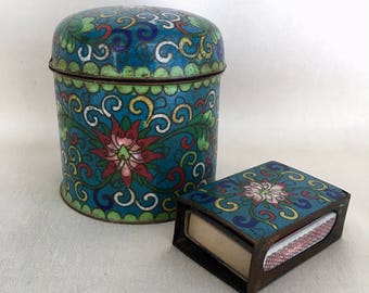 Cloisonne jar and matches from Meiji Period? Japanese Decor, Antique Cloisonne! Great for a collection! Catchall jar and matches set