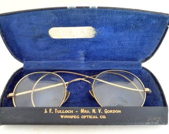 Antique Jf TULLOCH Gold SPECTACLES Eyeglasses Glasses Winnipeg OPTICAL